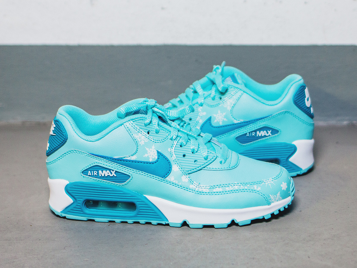 huge selection of bdb3c 9282f ... DAMEN SCHUHE SNEAKERS Nike Air Max 90 Premium Leather (GS) 724871 400  ...